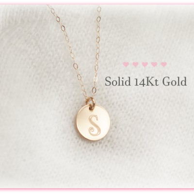 14Kt Gold Initial Necklace, Solid Gold Charm Initial Necklace, Real Gold Initial Necklace, 18kt Gold Necklace, Personalized, Disc, Initial