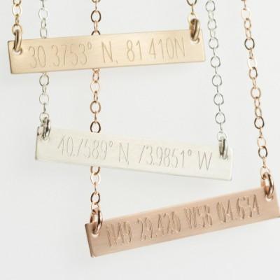 College Graduation Gift, Graduation Jewelry, Roommate Gift, Roommate Jewelry, Coordinate Jewelry, Custom Coordinates Necklace, Latitude