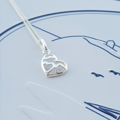 Love Heart Necklace, Sterling Silver, Silver Love Heart Necklace, Love Heart Charm, Heart, Gift For Her