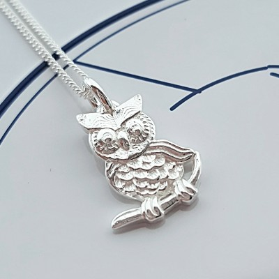 Sterling Silver Owl Necklace, Gift For Her