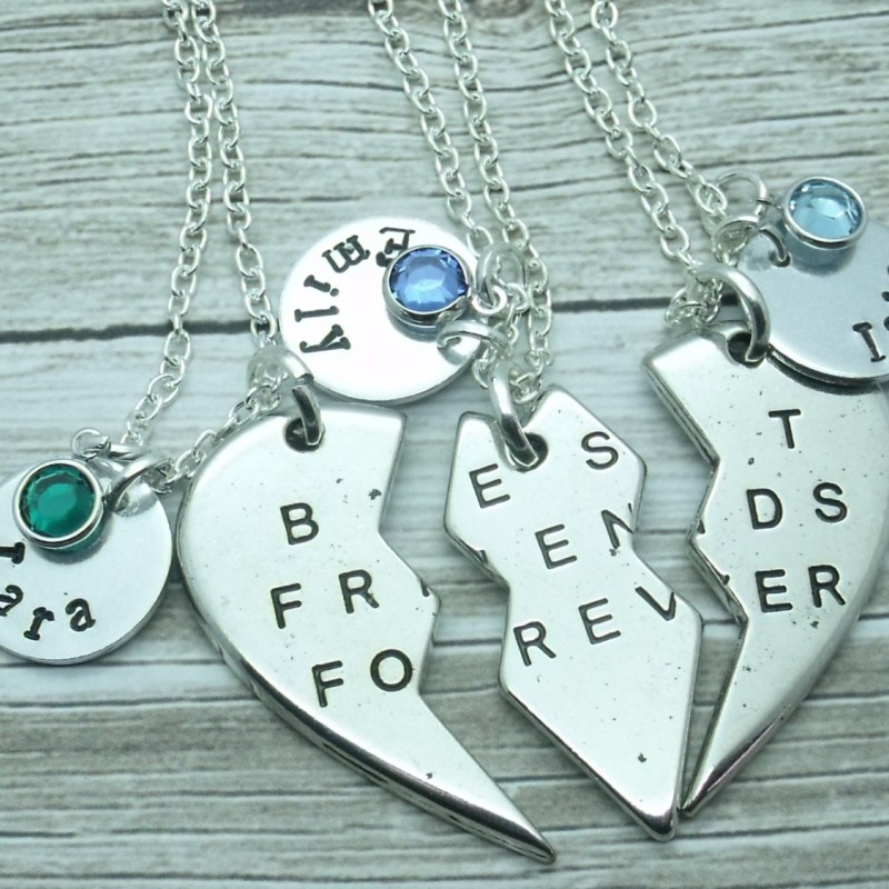 89670e72bf Three (3) Best Friend Forever Necklaces, 3 BFF Necklace Set, 3 BFF Gift,  Jewellery for Best Friends, Personalised Name Gift, Birthstone