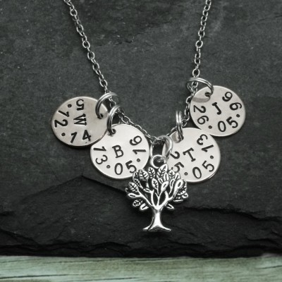 Tree Of Life Mother's Necklace, Family Name Hand Stamped Necklace, Personalised Mother Necklace, Grandmother necklace, Mum Mom, Grandma Gift