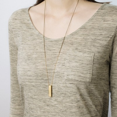 Dune - long bar necklace - 18k gold and brass layering necklace - long pendant necklace - vertical bar necklace - long layering chain