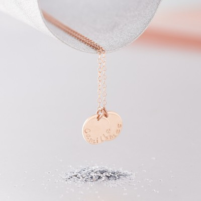18ct Rose Gold Necklace - Mother's Name Necklace - Two or Three Disc Name Necklace - Hand Stamped - Solid Rose Gold - Children's Names