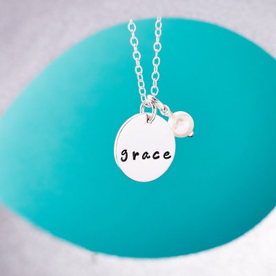 Hand Stamped Name Disc with Pearl - Single Name Disc - Personalised Single Name Necklace - Sterling Silver Name Necklace with White Pearl