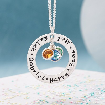 Mothers Birthstone Necklace - Personalised Mothers Necklace - Family Birthstone Necklace - Hand Stamped Necklace - Sterling Silver
