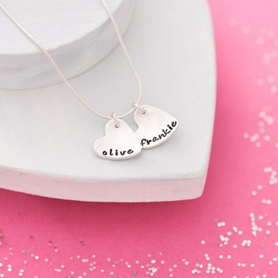 Two Hearts Name Necklace - Sterling Silver - Love Necklace - Best Friends Necklace - Necklace with Children's Names