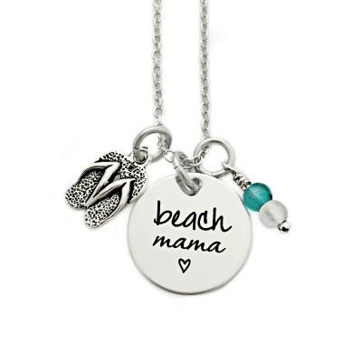 Beach Mama Necklace - Engrave Jewelry - Beach Jewelry - Flip Flop - Sea Glass - Summer Beach Jewelry - Beach Girl - Personalized Gift - 1182