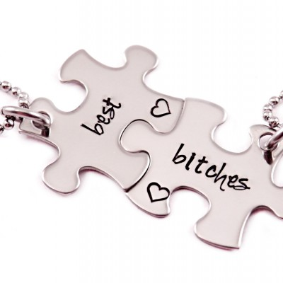 Best Bitches Puzzle Piece Necklace Set- 2 Puzzle Pieces - Engraved Puzzle Piece Necklaces Set of 2  - Best Friends - Best Bitches - 1354