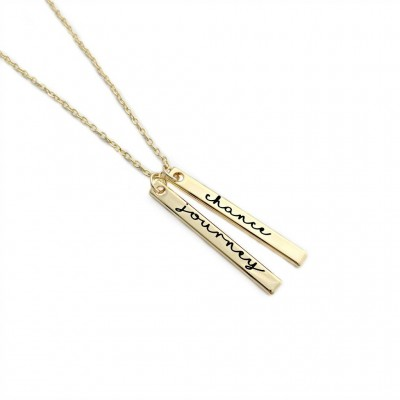 Personalized Gold Plated Vertical Bar Necklace - Engraved Jewelry - Mommy Jewelry - Mother Necklace - Gold Bar Necklace - Personalized- 1409