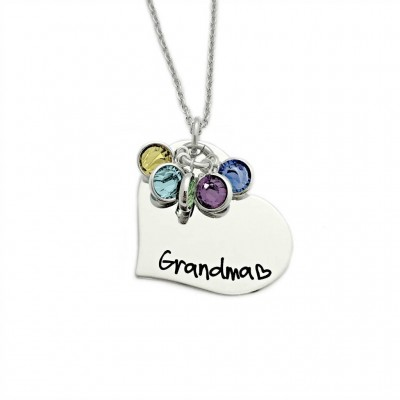 Personalized Grandma Necklace - Engraved Jewelry - Personalized Jewelry - Grandma Heart - Gift for Grandma - Mother Necklace - Nana - 1198
