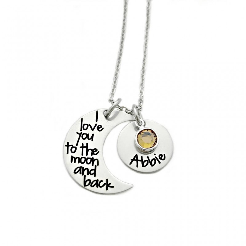 I Love You to the Moon and Back Personalized Mommy Necklace Grandma Mother Moon Kids Name Necklace Hand Stamped Jewelry
