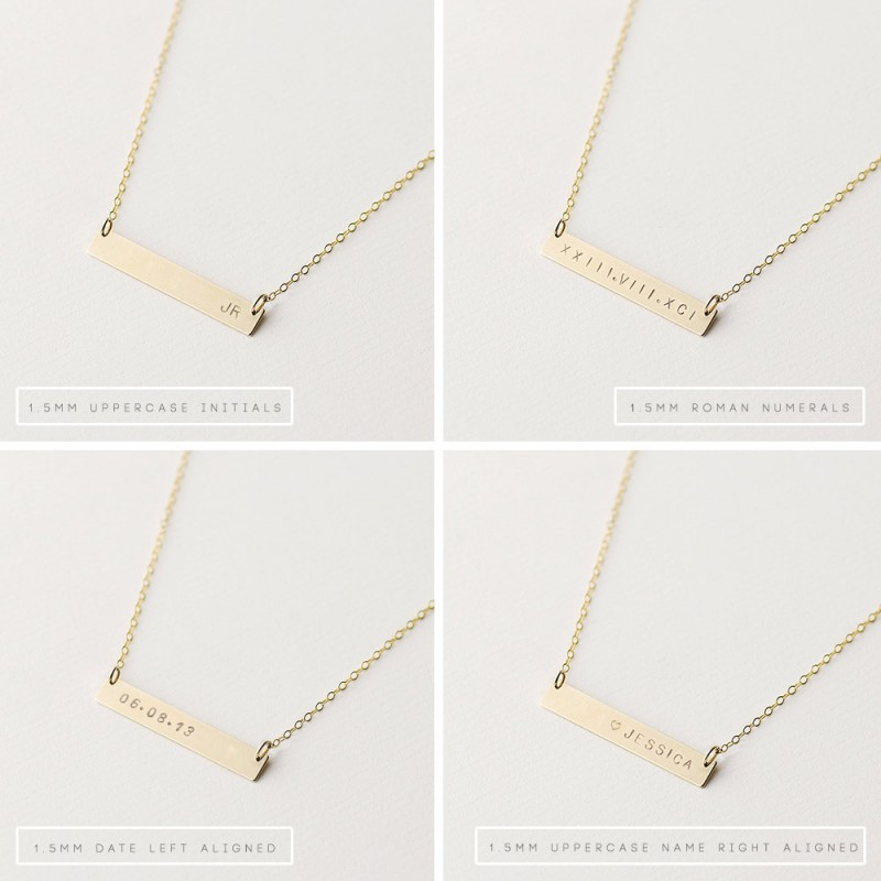Personalised gold bar necklace - horizontal bar necklace