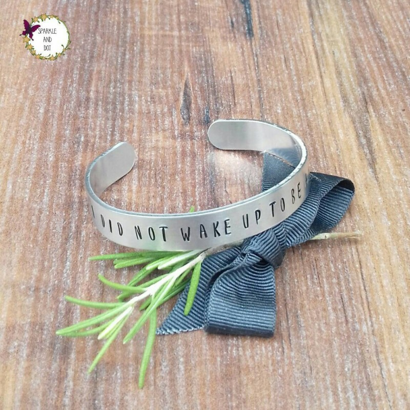 40th Birthday Gifts For Her Determination Gift Positive Vibes Jewellery Hand Stamped Cuff Bracelet