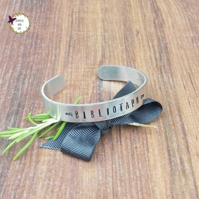 Book Lover Christmas Gift, Stacking Bracelets, Bibliophile Gifts, Hands Stamped Cuff Bracelet,
