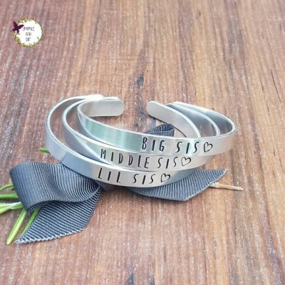 Gifts For Sisters, Sister Slim Stacking Bracelets, Big Sis Lil Sis Gifts, Gifts For Her, Hand Stamped Cuff Bracelet,