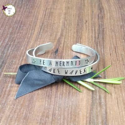 Mermaid Stacking Bracelet, Be A Mermaid Gift, Nautical Gifts, Slim Hand Stamped Cuff Bracelet,