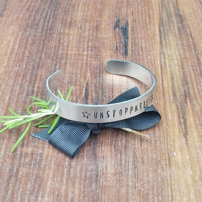 Unstoppable Cuff Bracelet, Free Spirit Gifts, Hand Stamped Cuff, Inspirational Gifts, Motivational Gifts, Hand Stamped Jewellery,