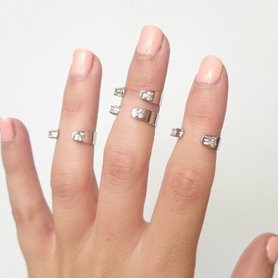 Crystal Cuff Midi Ring Set Of Four - Midi Rings - Stacking Rings - Above The Knuckle - Adjustable - RS05-S