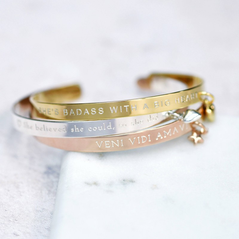 la meilleure attitude 0e8ff 4446d Personalised Mantra Bracelet - Message Bracelet - Personalised Bangle -  Gift For Her - Sterling Silver - 18ct Gold Plated - Rose Gold Plated