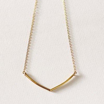 Sunlight - delicate gold necklace - geometric gold tube necklace - layering necklace - gold bar necklace - bridal jewellery - gift for mum