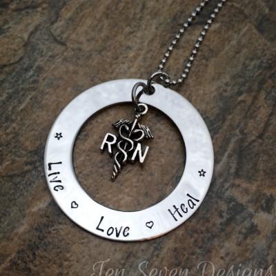 Live Love Heal - RN Necklace - Nurse Necklace - Necklace for RN - Necklace for Nurse - Medical Symbol Charm Necklace - Graduation Gift