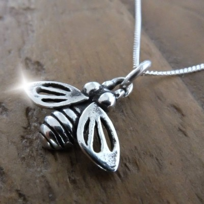 Silver Bee Necklace with Quote, Silver Bee Charm, Personalised Quote Gift, Christmas Stocking Filler, Save the Bees Gift, Manchester Bee