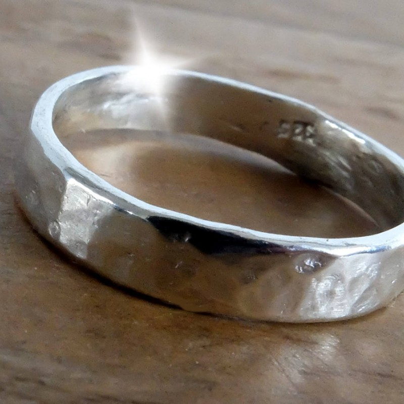 Silver Hammered Thumb Ring Sterling Silver Thumb Ring Personalised Silver Ring Wide Silver Ring Silver Rings