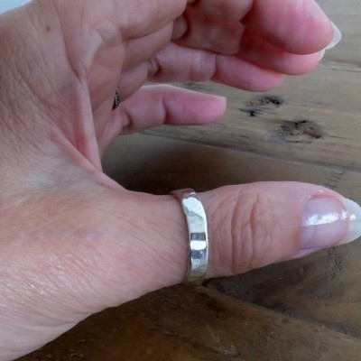 Silver Hammered Thumb Ring, Sterling Silver Thumb Ring, Personalised Silver Ring, Wide Silver Ring, Silver Rings for Men and Women