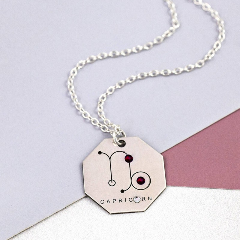 Capricorn Necklace | Sterling Silver | Zodiac Jewelry Gift | Horoscope Necklace | Garnet Necklace | Galaxy Jewelry Gift | Zodiac Necklace