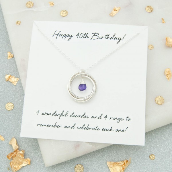 40th Birthday Gift For Woman Birthstone Necklace Jewelry Her Keepsake