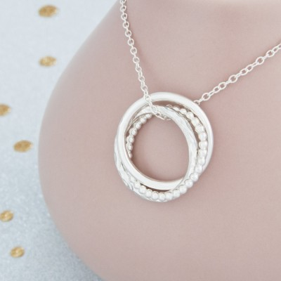 Faith, Hope, Love Russian Ring Necklace, Sterling Silver Three Ring Russian Necklace, Gifts For Her, Gifts For Mum, Gift For Daughter