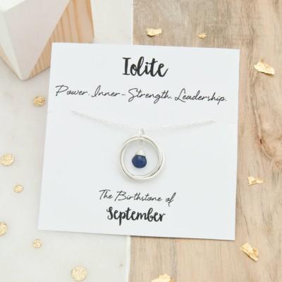 Iolite Birthstone Necklace, September Birthstone Necklace, Iolite Birthstone Jewellery, Birthday Gift For Her, September Birthday Jewelry