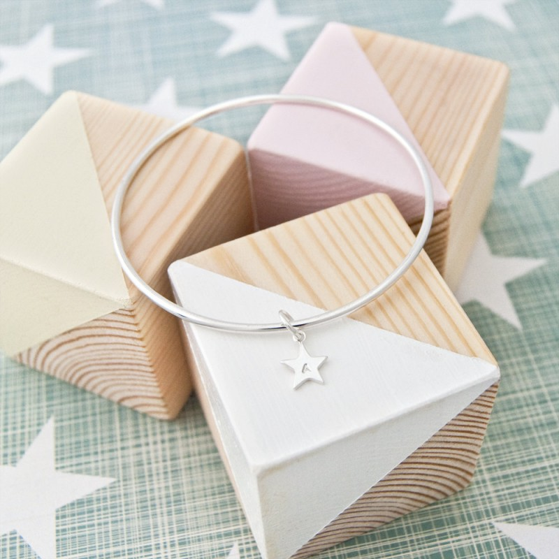 Personalised Initial Bangle Custom Star 18th Birthday Gift For Daughter Ideas 16th Her
