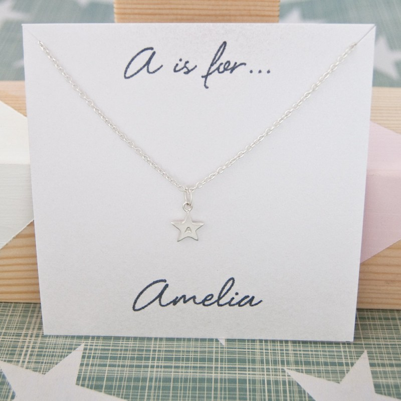 Personalised Initial Necklace Silver Star 18th Birthday Gift For Daughter Ideas