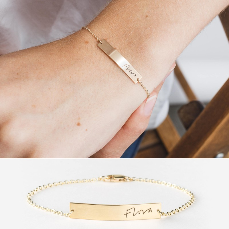 e5e3923fc4c01 Actual Handwriting Bar Bracelet • Custom Signature Bracelet ...