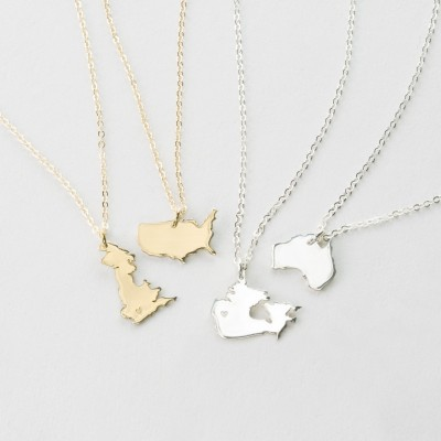 Country Charm Necklace, Dainty Custom Country Necklace, Hand-Stamped or Blank Country State Pendant - Gold or Sterling Silver Necklace LN349