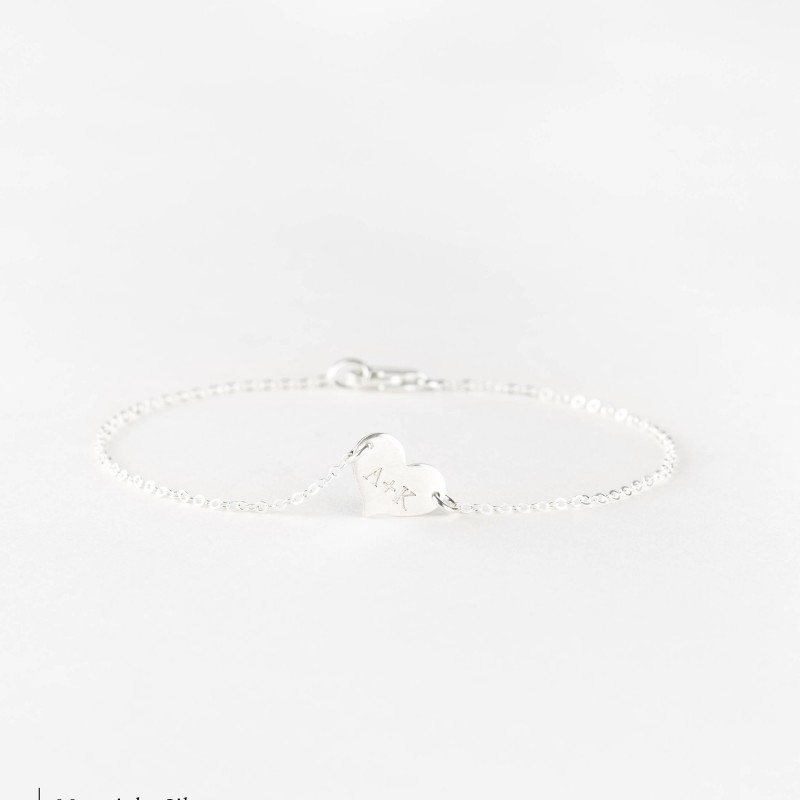 ba85d46cb52 Dainty Personalized Heart Bracelet / Personalized Initial Charm Bracelet /  18k Gold Fill, Sterling Silver or Rose Gold ...
