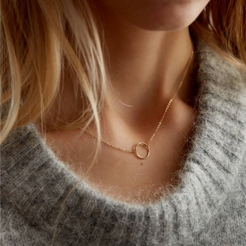 Dainty Rose Gold Necklace Delicate Open Circle Rose Gold Karma 18k Gold Fill Sterling Silver Or