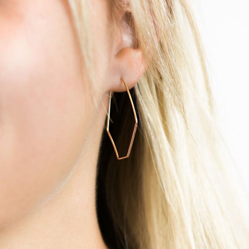 3506c206ee701 Hexagon Hoop Earrings 18k Gold Filled Earring, Sterling Silver or ...
