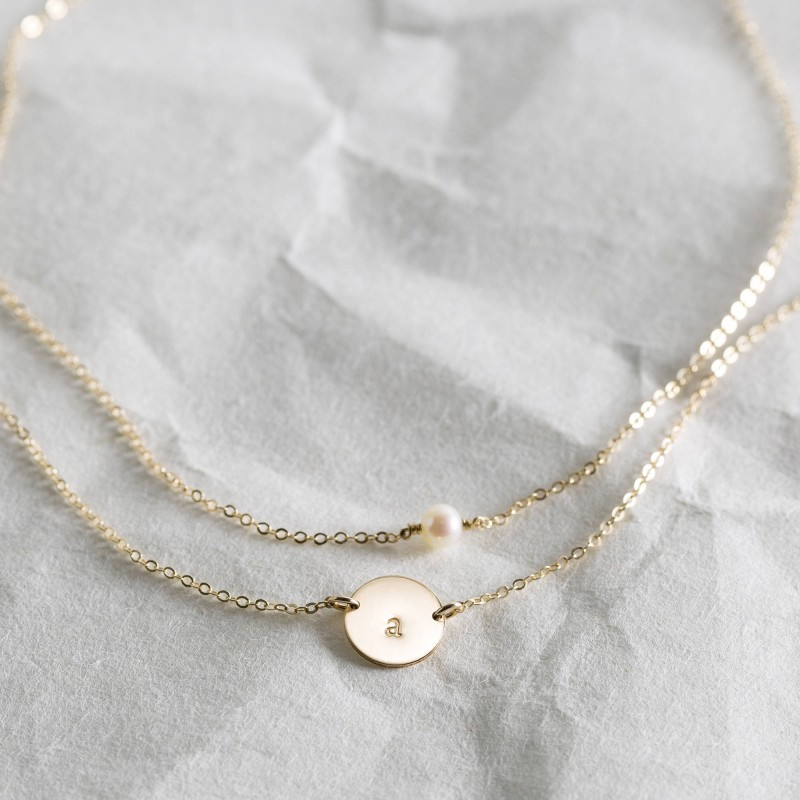 4d95b5f004482 Personalized Jewelry Gift for Her, 2 Dainty Necklaces: Pearl ...