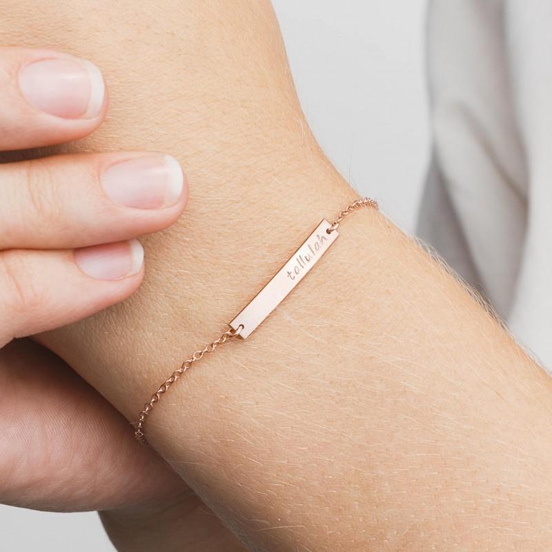 Initial Custom Coordinates Bridesmaid Personalized Name Bracelet Monogram Custom Name Dainty Bar Bracelet Name Bar Bracelet