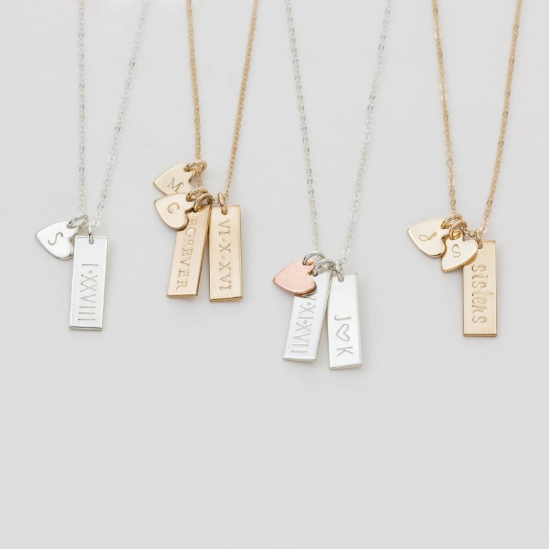 ef51d0c41c011 Personalized Small Tag Necklace / Simple Initial Heart Necklace ...