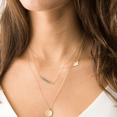 Set 912 • Delicate Necklace Set w/ Bird Necklace and Gemstones and initial necklace, 18k Gold Fill Layering Necklaces, Simple Gold Necklaces