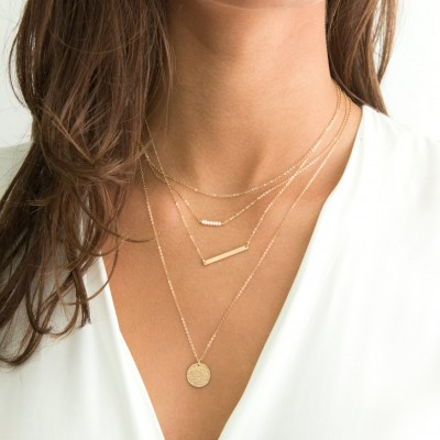 Set 932 • Layered and Long Necklaces / Sterling Silver, Rose Gold, Gold / Silver or Delicate Gold Necklaces, Personalized Options