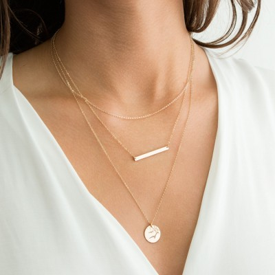 Set 949 • Bar Necklace & Simple Dainty Layering Necklaces • Gold Personalized Custom Name Hand Stamped Bar and Initial Disk Necklace, 3pcs