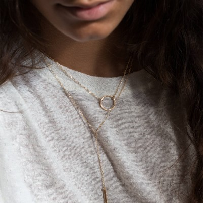 Set 975 • Two Best Selling Layering Necklaces • 18k Gold Fill, Silver and Rose Gold Filled • Dainty Short Y Necklace and Karma Circle