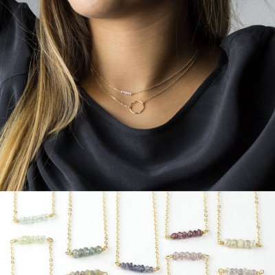 Simple Birthstone & Open Circle Necklace Layering Necklaces Set Gift • Mini Gemstone Bar Necklace, Karma Circle Necklace, Gift for Her LS962