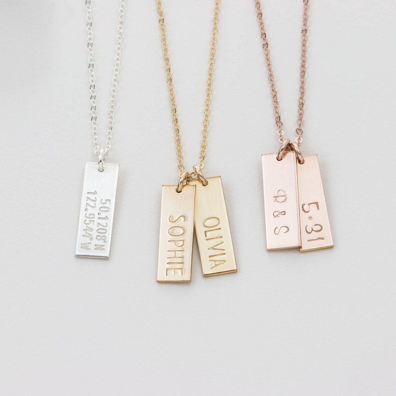 21ba76d2f3a10 Simple Personalized Tag Necklace / Small Bar Necklace / Engraved ...