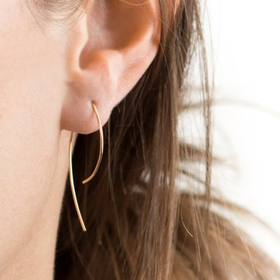 Small Arc Threader Earrings, 18k Gold Filled Earring, Sterling Silver, Rose Gold Fill, Open Hoops, Wire Form Earrings Layered and Long LE406